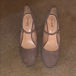 Grey/Neutral Guess heels with ankle strap